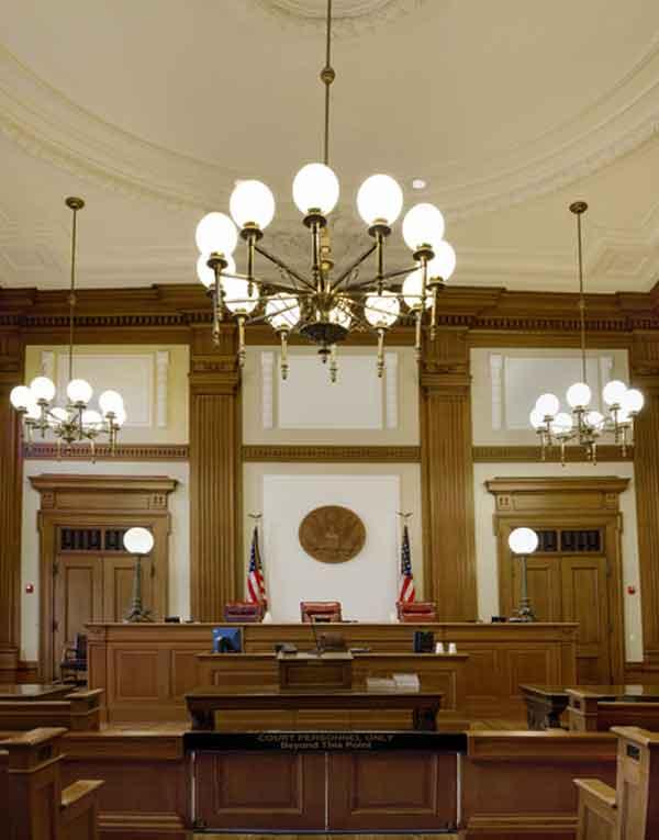 US pioneer courtroom